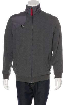 Prada Sport Tessuto-Accented Zip-Up Sweater