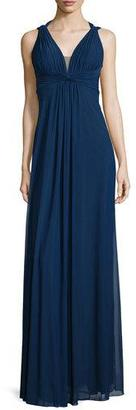 La Femme Draped Sleeveless V-Neck Gown, Navy $250 thestylecure.com