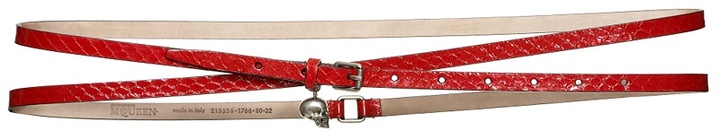 Red Double Wrap Skull Belt