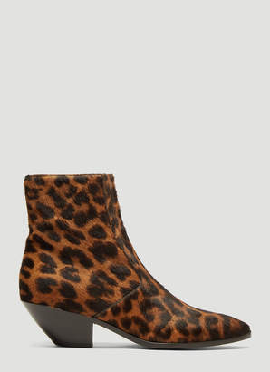 Saint Laurent West Leopard-Print Calf-Hair Boots in Brown