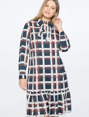 Tie Neck Ruffled Hem Mini Dress