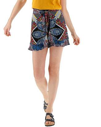 Fashion World Blue & Coral Crinkle Wrap Frill Shorts