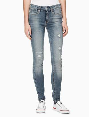 Calvin Klein skinny mid rise tamiami distressed jeans