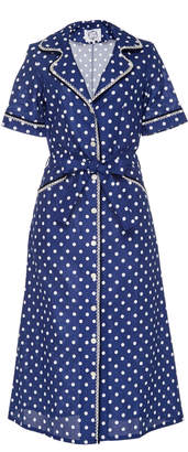 Evi Grintela Gloria Polka-Dot Cotton Midi Shirt Dress