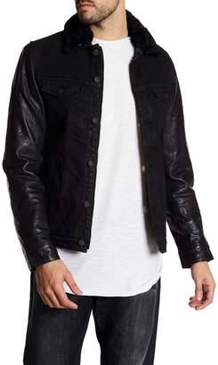 Gilded Age Faux Fur Collar Leather Sleeve Denim Jacket
