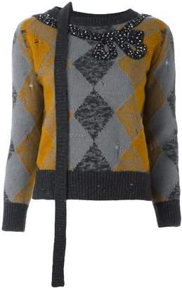 Marc Jacobs embellished argyle knit jumper