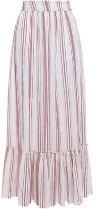 Antik Batik Serifos Gathered Striped Cotton-gauze Maxi-skirt