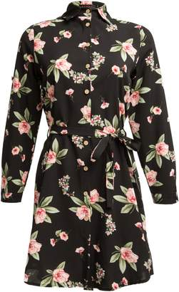 Dorothy Perkins Womens *Tenki Black Floral Print Shirt Dress