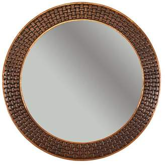 Premier Copper Products 34 Hand Hammered Round Copper Mirror With Decorative Braid Design