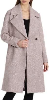 Badgley Mischka Notch Collar Boucle Wool Blend Coat