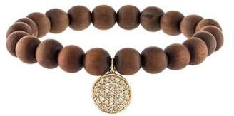 Sydney Evan 14K Diamond Disk Wood Beaded Bracelet