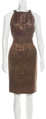 Bill Blass Sleeveless Embossed Midi Dress Brown Sleeveless Embossed Midi Dress