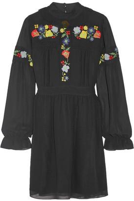 Anna Sui - Embroidered Georgette Mini Dress - Black