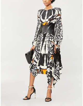 Alexander McQueen Bug-print silk-satin midi dress