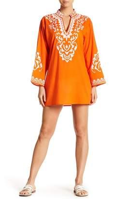 La Moda Split Neck 3/4 Sleeve Embroidered Tunic