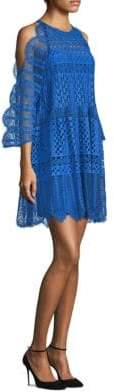 BCBGMAXAZRIA Cold-Shoulder Lace Mini Dress