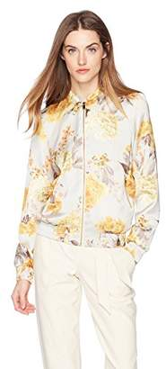 Daisy Drive Women's Stripe Rose Floral Printed Bomber Jacket