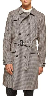 Topman Houndstooth Trench Coat