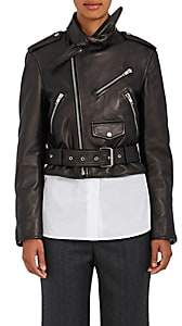 Balenciaga Women's Scarf-Neck Leather Moto Jacket-Black