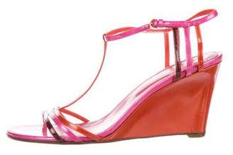 Sergio Rossi Patent Leather T-Strap Wedges