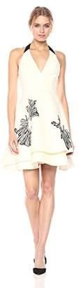 Halston Women's Sleeveless Halter Neck Tiered Skirt Dress with Embellishment