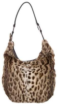 J. Mendel Leather-Trimmed Mink Hobo