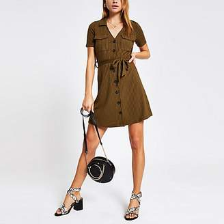 River Island Khaki ribbed utility shirt dress