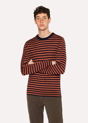 Paul Smith Men's Orange And Navy Stripe Crew-Neck Merino Wool Sweater