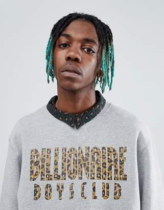 Billionaire Boys Club Reversible Leopard Print Arch Logo Sweatshirt In Grey