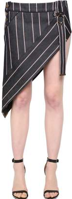 Anthony Vaccarello Striped Asymmetrical Denim Mini Skirt