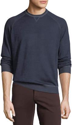 Neiman Marcus Men's Crewneck Raglan-Sleeve Wool-Blend Sweater