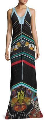 Roberto Cavalli Sleeveless Knit Butterfly-Print Maxi Dress