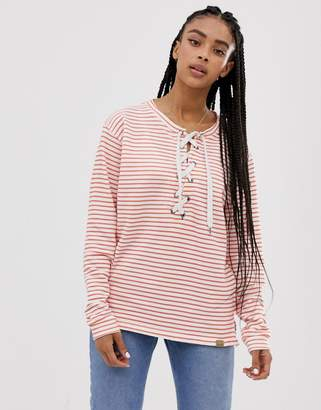 Blend She Tie Neck Striper Sweater