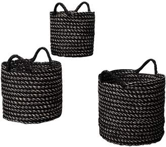 Inartisan Black Stripe Basket with Handles, Small