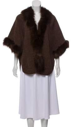 Adrienne Landau Fur-Trimmed Medium-Weight Poncho Brown Fur-Trimmed Medium-Weight Poncho