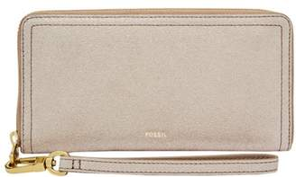 Fossil Logan Rfid Zip Around Clutch Wallet Champagne