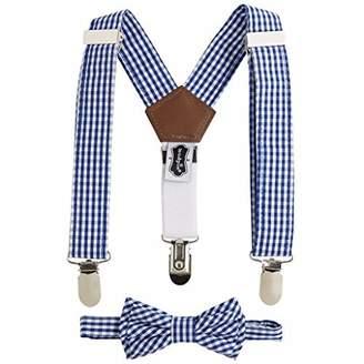 Mud Pie Little Gentleman Bow Tie and Suspender Set, Navy Gingham