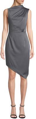 Elliatt Divine Sleeveless High-Neck Asymmetric Satin Dress
