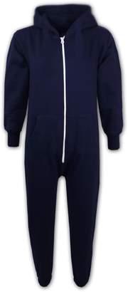 a2z4kids Kids Girls Boys Plain Color Fleece Hooded Onesie All in One Jumpsuit 5-13 Years
