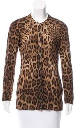 Dolce & Gabbana Leopard Printed Cashmere Cardigan