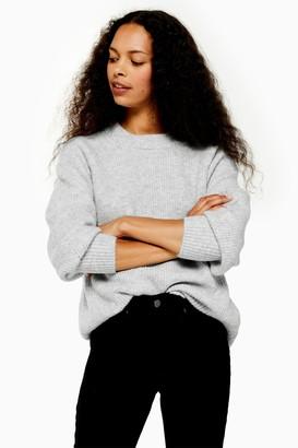 Topshop Womens Petite Grey Jumper - Grey Marl
