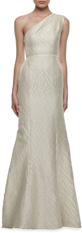 Monique Lhuillier Animal-Textured One-Shoulder Gown