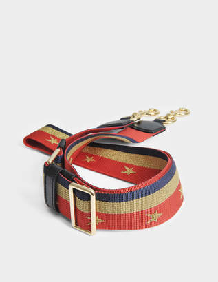 Marc Jacobs Stars and Stripes Chain Guitar Bag Strap in Lava Red and Shiny Gold Nylon