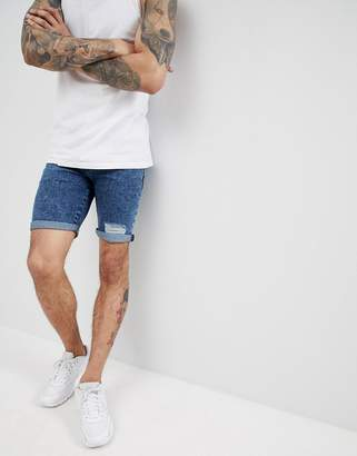 Asos Design Denim Shorts In Super Skinny Acid Blue Wash With Rips