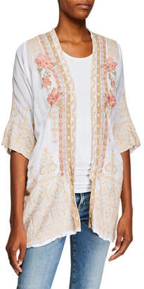 Johnny Was Helena Open-Front 3/4-Sleeve Embroidered Georgette Kimono