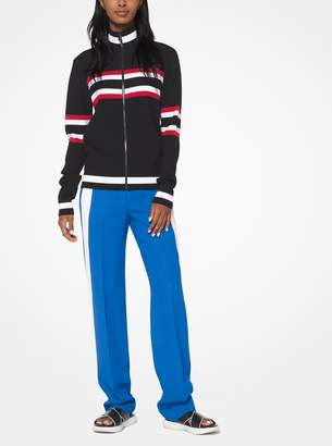Michael Kors Striped Viscose Track Jacket