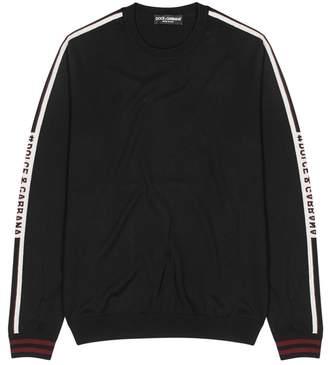Dolce & Gabbana Black Logo Wool Jumper