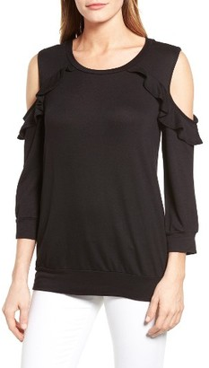 Petite Women's Bobeau Ruffle Cold Shoulder Sweatshirt $49 thestylecure.com