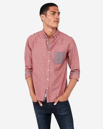Express Slim Soft Wash Button-Down Chambray Shirt