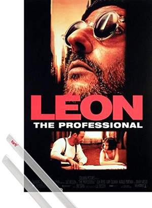 Leon Poster + Hanger Poster (39x28 inches) The Professional - Collage And 1 Set Of Transparent 1art1® Poster Hangers